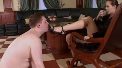 Chubby ashtray slave ass & foot humiliated