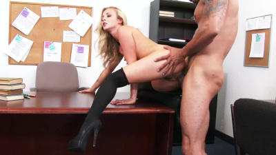 Karla Kush takes boss's dick balls deep up her mouth & cunt at work