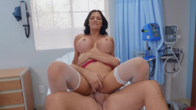 Sexy nurse Jasmine Jae  runs some specialized tests on patient's hard cock