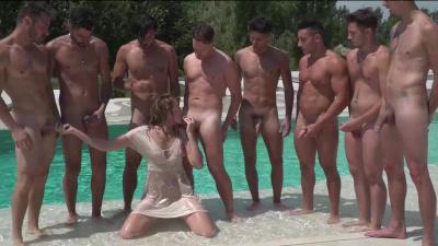 Glamorous blonde Linda Leclair seduces a team of nine football players