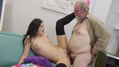 Long-legged brunette Katy Rose makes passionate sex with an older man