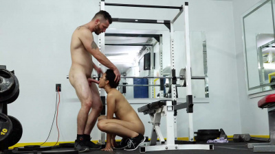 Hot personal trainer Amethyst Banks got her pussy pummeled on the weight bench