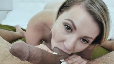 Gorgeous blonde Cara May doesn't want blowjob to end