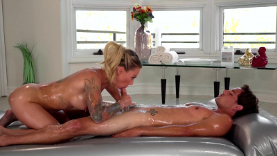 Isabelle Deltore gives her stepson dick massage with lots of oil