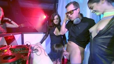 Abigail Mac & Keisha Grey have a bi 3some fuck in a dance club