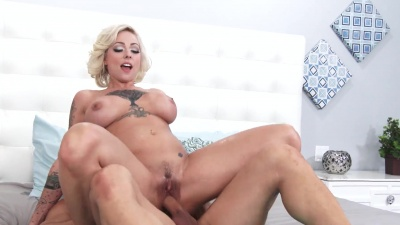 Harlow Harrison takes cum down her throat after a wild fuck with her boss
