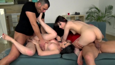 Hot foreplay ends in dick swapping foursome for Natty Mellow & Luna Rival