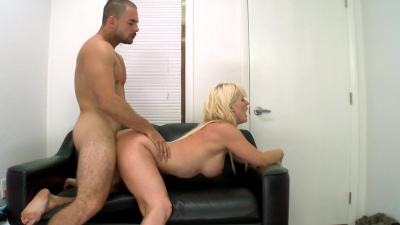 Mature blonde Kaylee Brookshire doing her first adult movie