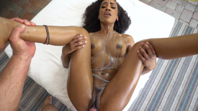 Slim ebony Demi Sutra goes down and dirty on a big white cock
