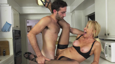 Old but sexy granny Erica Lauren thanking the young man from the bank for his advise