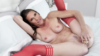 Sofie Marie feeling extra hot in her long red stockings and lingerie