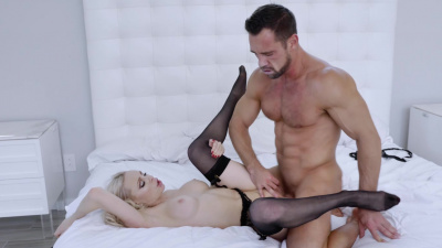 Stunning babe in black lingerie Natasha James fucking her boyfriend in several positions