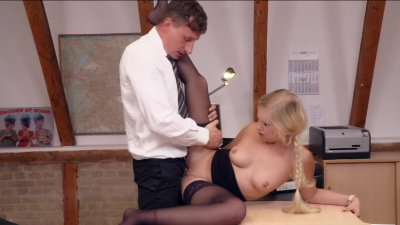 Blonde secretary Lena Nitro fucks her boss on a desk