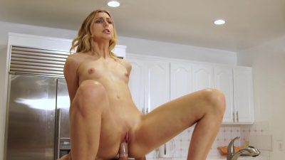 Leggy blonde Alexa Grace has passionate sex on the kitchen table