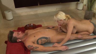 Busty blonde Scarlett Monroe finishes off her client by sucking the cum out of his dick