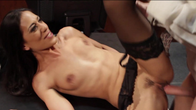 Hot brunette secretary Lyla Storm takes her boss' big hard cock all while keeping her stockings on like a good secretary