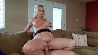 Bigtitted stepmom Rachael Cavalli offers herself to stepson for a doggy style pussy pounding