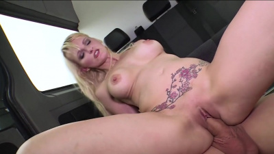 Mika Olsson's lustful ass saddled Jason Steel's pulsating cock in the bus
