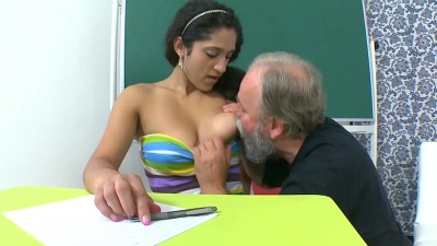 Old teacher fucks Lara's mouth & pussy with his small cock