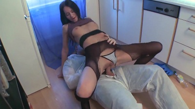 Dinara losing her virginity with the repair man over the kitchen counter