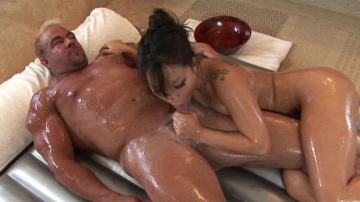 Asa Akira helps a guy with stress release