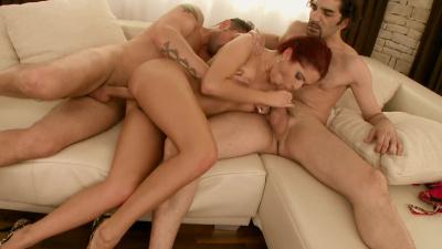 Redhead Graziella Diamond anal threesome