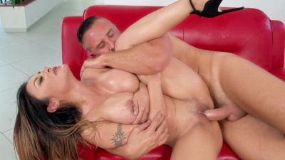 Kaylani Lei is oiled and ends in having sex with the butler on a leather couch