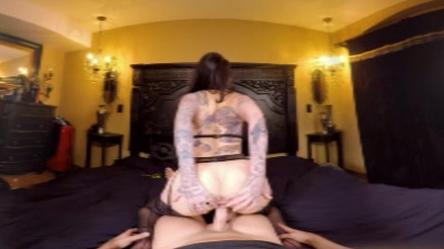 Tatted Leigh Raven sits on a cock VR