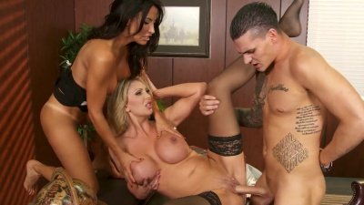 Leigh Darby & Lezley Zen working a young cock in a threeway